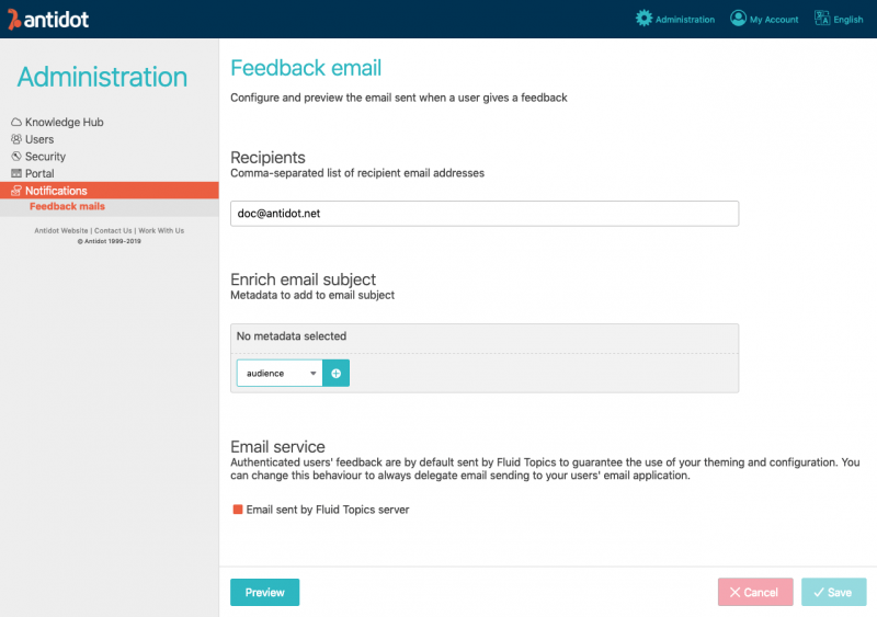 Feedback email admin capture
